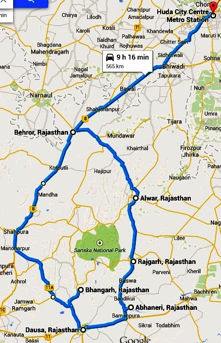 BHangarh-route-map