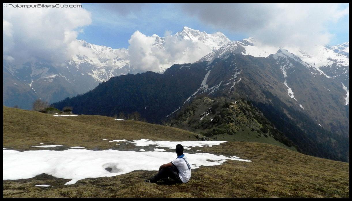 Chaukhamba peaks behind clouds