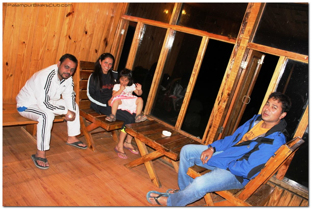 Relaxing in a wooden hut at Jerry's Jungle Huts Palampur