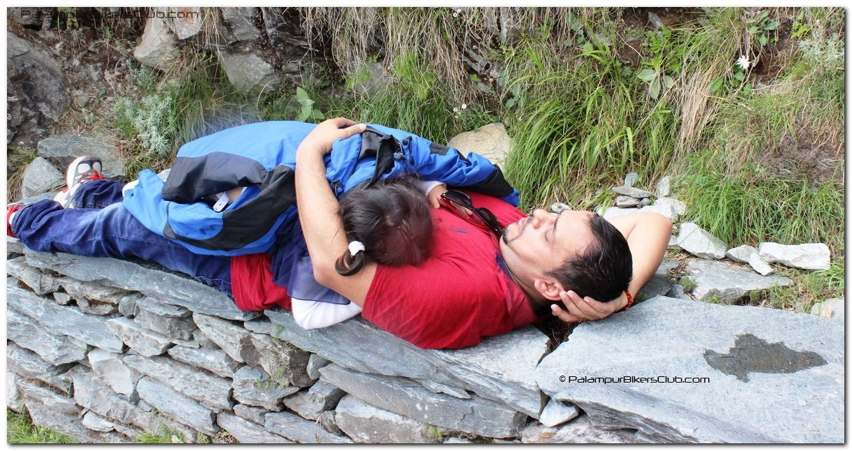 Was not easy to carry the children over shoulder. Dad and daughter taking small nap in the trek