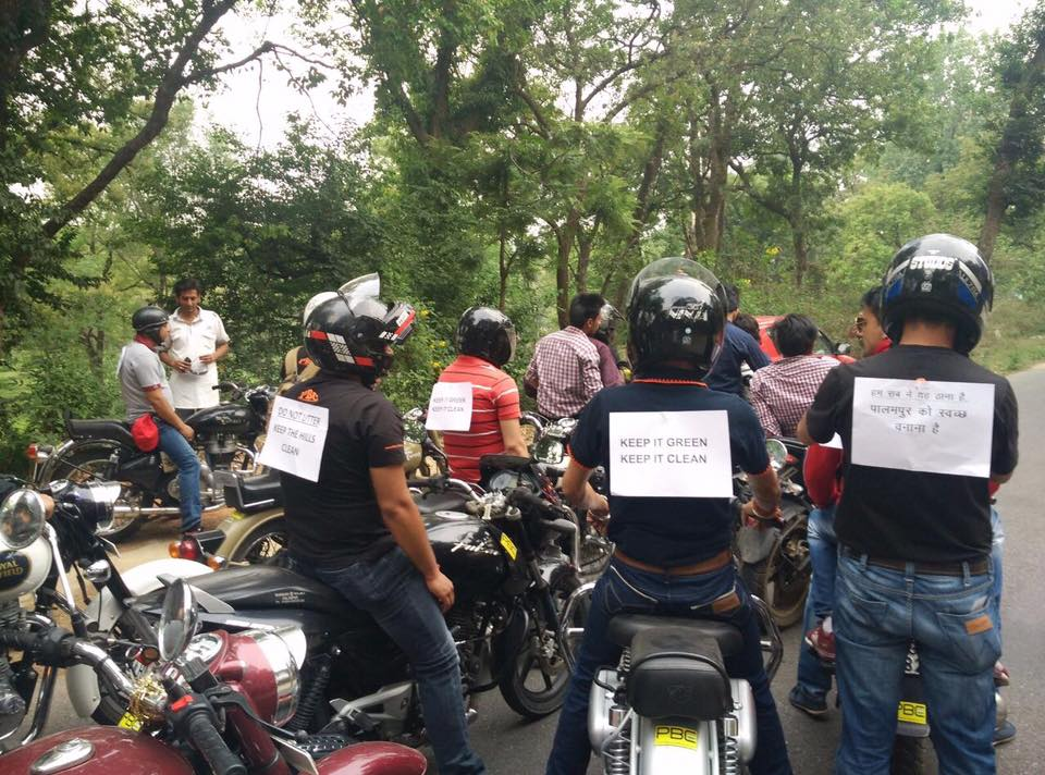 Bikers riding with slogans
